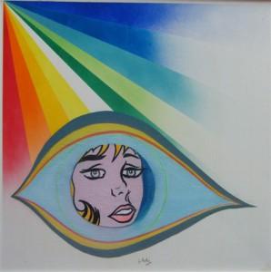 """Gianpiero Actis: """"Tribute to Lichtenstein"""", tecnica mista su tavola, 50 x 50, 2014 Terra di Magia Scivolando in una terra di magia percorriamo i sentieri stranieri  di un mondo sconosciuto gli occhi di Magritte galleggianti tra le nuvole le orbite vuote e glauche di Modi  sognanti e stanchi gli occhi di Marilyn sono attoniti sguardi attorno a noi. Fermi ad ascoltare il loro silenzioso messaggio sprofondiamo in una spirale di colori  e veniamo trasportati  lentamente in una strana vorticosa danza. Lidia Chiarelli (2014)"""