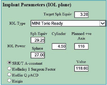 Fig. 2. Spherical and toric IOL parameters for Mini Toric Ready SIFI.
