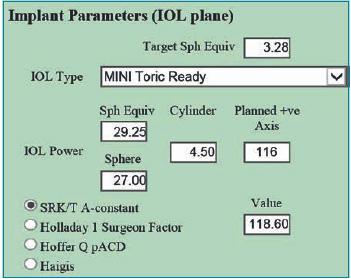 Fig. 2. I parametri sferico e torico della IOL Mini Toric Ready di SIFI.